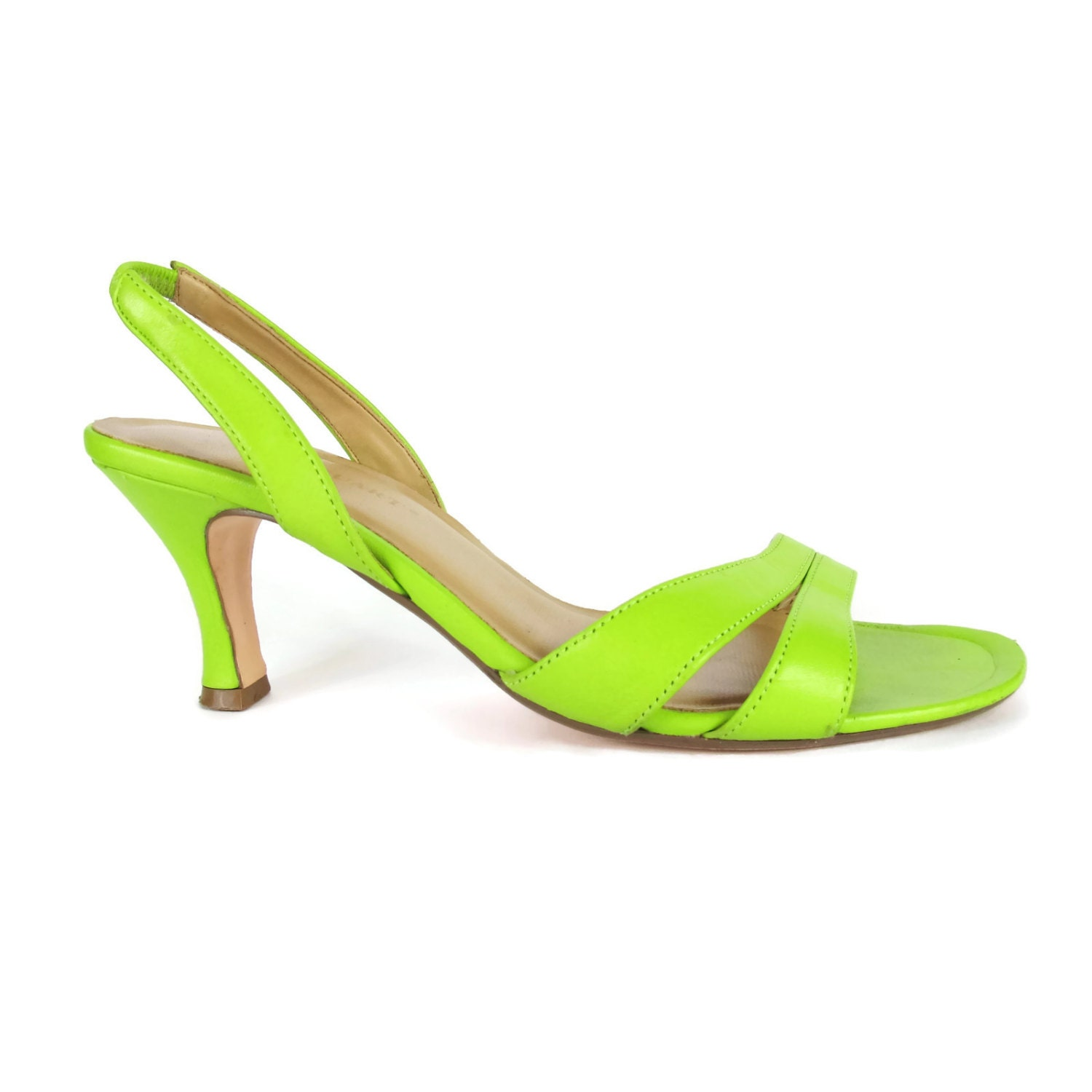 90s Lime Green Slingback Heels Open Toe Strappy Leather