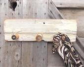 Wood Coat Rack with Wood Thread Spools Upcycled Barn