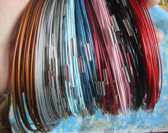 50pcs(more than 10 colors) NEW NEW NEW 18 inch 1mm assorted stainless steel necklace cords/wires with stainless steel magnet clasps