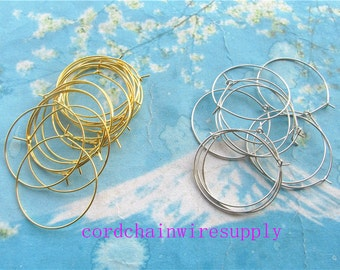 100 pieces 30mm bright gold/ silver round hoop earring hooks/earring wires charms findings