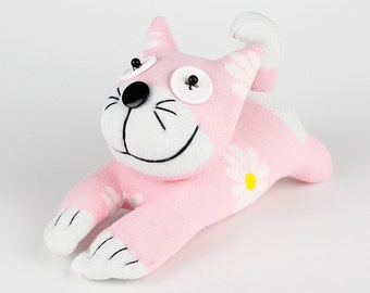 Baby Girls Handmade Sock Cheshire Cat Kitty Stuffed Animal Baby Toy
