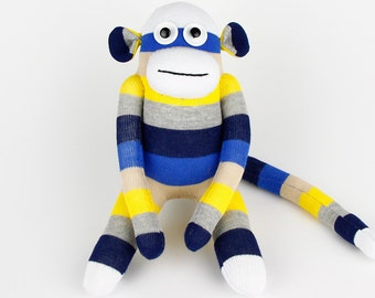 Free Shipping Handmade Original Sock Monkey Stuffed Animal Doll Baby Toys