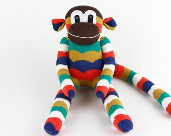 Christmas Gift Handmade Original Sock Monkey Stuffed Animal Doll Baby Toys New Year Gift