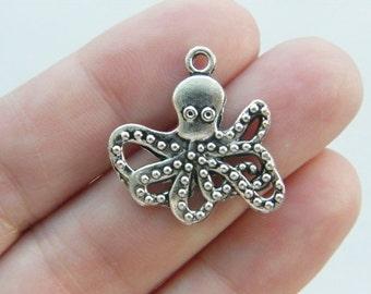 6 Octopus charms pendants antique silver tone FF113