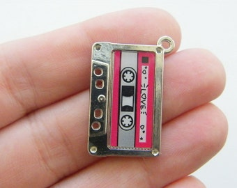 2 Tape cassette charms silver MN33