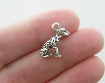 10 Dog charms antique silver tone D33