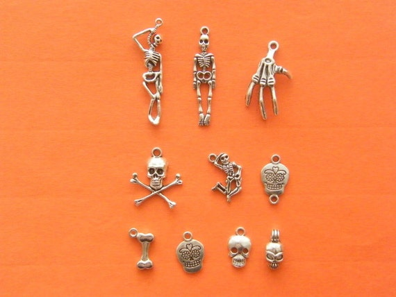 The Bone Skeleton Collection - 11 different antique silver tone charms