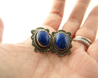 Lapis Concho Earrings - Sterling Silver - Native American - Navajo - Vintage