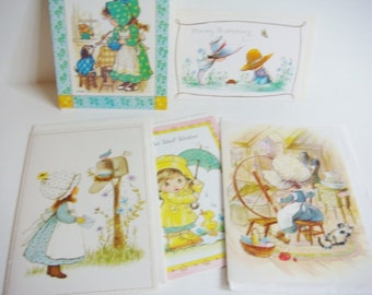 Little Girls in Bonnets Greeting Card Lot - 5 Cards - Unused Vintage