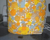 Quilted stand mixer cover - Mushroom pattern - yellow, orange, brown and gray on white background