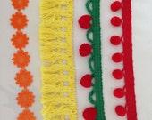 1960s TRIM 4 different cotton red & green yellow orange daisy