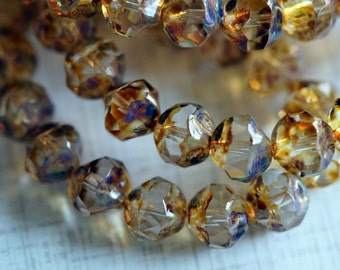 8mm Clear with Picasso Finish -  Faceted Nuggets - Central Cut Beads - Czech Glass Beads - FULL STRAND