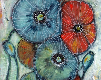 poppy flower print mixed media painting art print