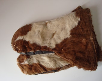 Genuine cowhide mittens  vintage outerwear gloves snowmobiling gloves leather gloves gauntlet winter