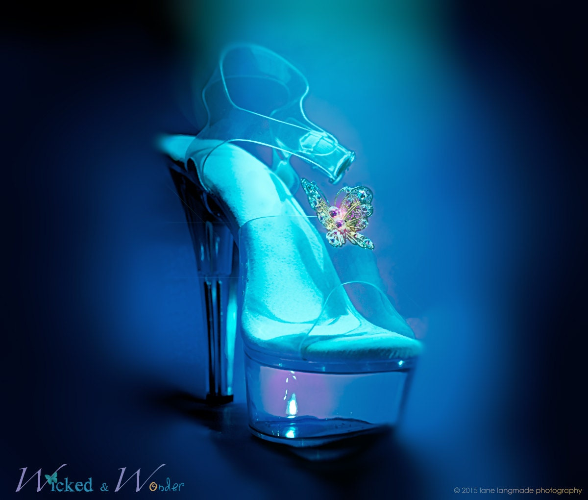 NEW Cinderella 2015 Glass Slippers with Butterflies