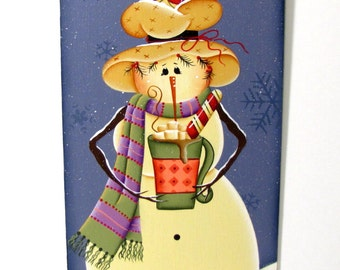 Snowman and Mug Banner, Handpainted Wood Sign, Hand Painted Home Decor, Winter Wall Art, Tole Decorative Painting, B5