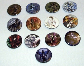 "Bakers Dozen Fantasy ""Wings"" Pin-Back Buttons by Neon Dragon Art"