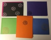 SALE - 5 Folded Note Cards - Flower
