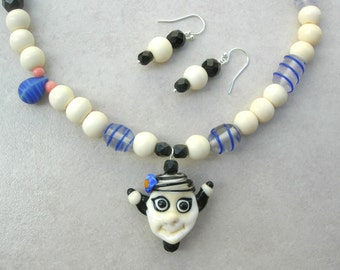 ADORABLE Funny Glass Face, Glass & Bone Beads, the Faces Collection, Asymmetrical Necklace Set by SandraDesigns