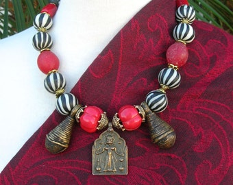 ETHNOGRAPHIC Necklace, Indian Goddess Pendant, Old African Bells, Striped Glass & Real Melon Coral Beads, Necklace Set by SandraDesigns