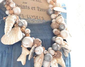Beaded shell necklace, Boho Beach girl sea side necklace, Bohemian Statement necklace, Boho jewelry, Beach cowgirl, True Rebel clothing