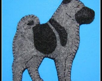 Norwegian elkhound magnet/ornament combination-Handmade felt elkhound gift ideas