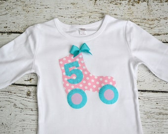 Girls Roller Skate Applique Birthday Party Shirt in Pink and Aqua with Bow Personalized with Age