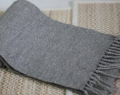 Cashmere blend sparkle heather grey 6' long woven scarf with twisted tassles