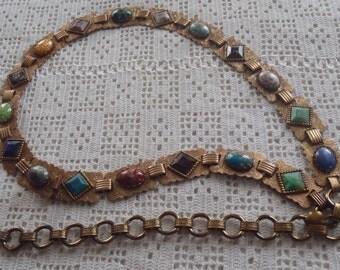 Vintage Belt Engraved Links Multicolored Stones