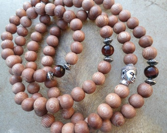 108 Bead Mala Mala Beads Grounding Focus Energy Necklace Red Tigers Eye  Rosewood  Mala Meditation Buddha Head  Yoga Necklace  Prayer Beads