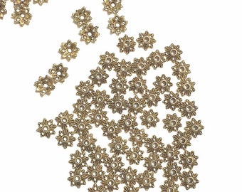 Gold Bead Caps 50 Flower Findings for jewelry making supplies destash