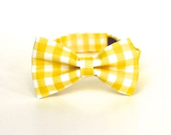 Boy's Bow Tie - Yellow Gingham - Yellow and White Checks - In Stock - boys bowties toddler bowtie