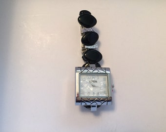 Large face silver & black onyx watch