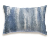 Indigo Blue Charcoal Beige Decorative Lumbar Pillow Cover 12x18 inch Natural Linen One Of A Kind