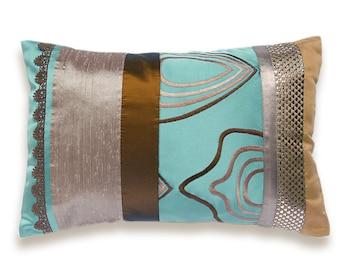 Rust Aqua Duck Egg Blue Silver Beige Lumbar Pillow Case 12 x 18 in IRMA DESIGN Limited Edition