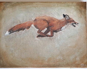 Running Fox oil painting