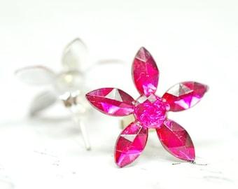 Dark Pink Flower Earrings / Fuchsia Crystal Flowers / Magenta Daisy Stud Earrings, Red Violet