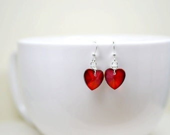Red Heart Earrings, Warm Red Crystal Earrings, Valentines Day Wedding Jewelry, Red Bridesmaids Jewelry, Red Heart and Silver Dangles