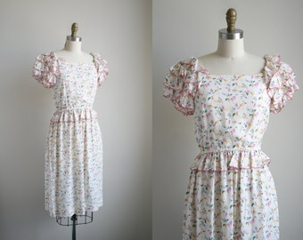 80s Floral Tea Dress with Avant Garde Ruffle Sleeves - Vintage Silk Dress - Peplum Dress - Designer Vintage Dress