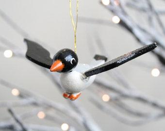 Vintage Christmas Ornament Wood Bird Ornament Black White Grey