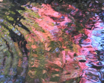 ACEO  Red Ripples reflected in water
