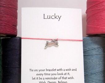 Lucky Rabbit Bracelet on waxed Irish linen