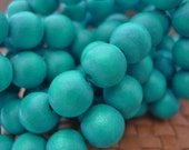 15 in strand 12 mm Round Wood Beads, Aqua Color