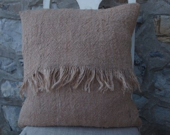 Basic Fringed Burlap Pillow Cover