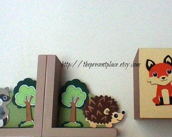 tissue box,bookends,forest creatures,forest theme decor,woodland set,woodland decor,forest animals,woodland theme,nursery decor,neutral