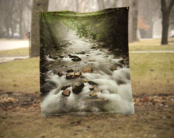 Fleece Blanket - Big Creek Smoky Mountains - Green Water Rocks - Decorative Fleece Blanket - Baby Blanket - Medium Large Blanket