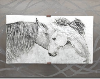 Gentle Companions - Horse Fused Glass Wall Art