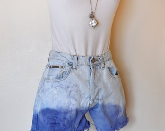 Blue Ombre Sz 7 CK Denim SHORTS - Urban Denim Stone Wash Blue Dyed Calvin Klein High Waist Button Fly Shorts - Size 7 (28 Waist)
