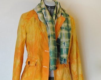 Orange Sz 8 Denim Jacket - Yellow Orange Hand Dyed Upcycled Gap Denim Blazer Jacket - Adult Women's Size 8 Medium (38 chest)