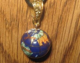 20mm  Lapis COLOR Multi Gemstone Inlay GOLD Globe Pendant Necklace